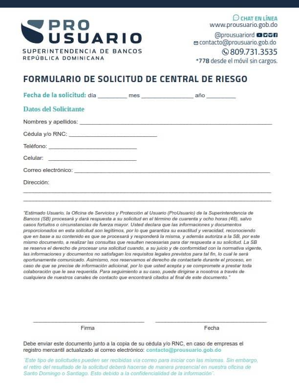Formulario de solicitud Central de Riesgo